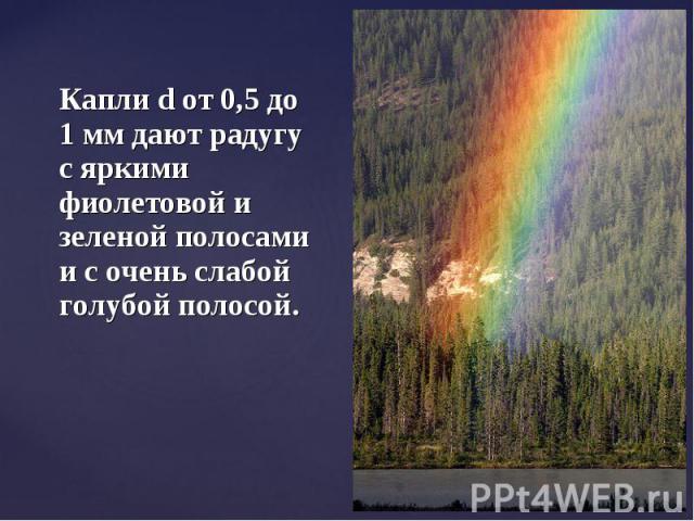 Капли d от 0,5 до 1 мм дают радугу с яркими фиолетовой и зеленой полосами и с очень слабой голубой полосой.