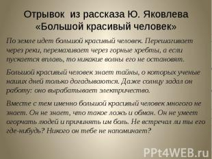 Отрывок из рассказа Ю. Яковлева «Большой красивый человек» По земле идет большой