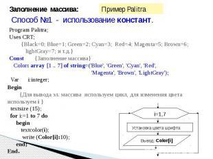 Заполнение массива: Способ №1 - использование констант.Program Palitra;Uses CRT;