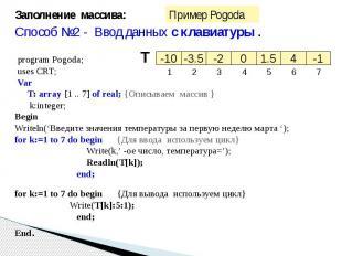 Заполнение массива:Способ №2 - Ввод данных с клавиатуры . program Pogoda;uses CR