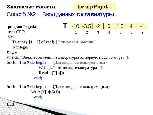Заполнение массива:Способ №2 - Ввод данных с клавиатуры . program Pogoda;uses CRT;Var T: array [1 .. 7] of real; {Описываем массив } k:integer; Begin Writeln('Введите значения температуры за первую неделю марта ');for k:=1 to 7 do begin {Для ввода и…