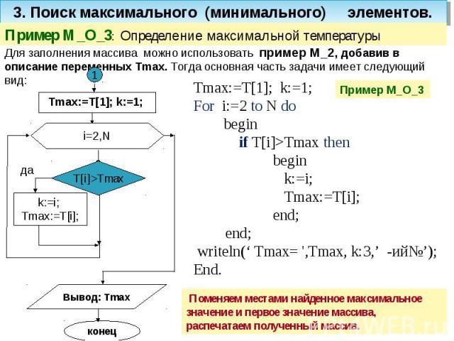 3. Поиск максимального (минимального) элементов. Пример M_O_3: Определение максимальной температуры Для заполнения массива можно использовать пример M_2, добавив в описание переменных Tmax. Тогда основная часть задачи имеет следующий вид: Tmax:=T[1]…
