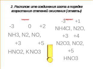 2. Расположите соединения азота в порядке возрастания степеней окисления (ответы