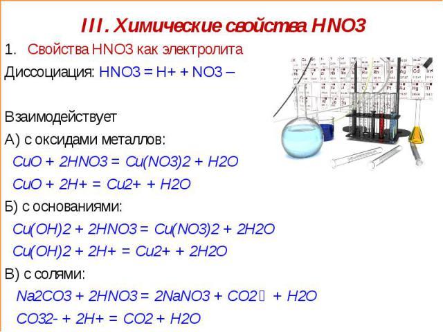 III. Химические свойства HNO3 Свойства HNO3 как электролитаДиссоциация: HNO3 = H+ + NO3 – ВзаимодействуетА) с оксидами металлов: CuO + 2HNO3 = Cu(NO3)2 + H2O CuO + 2H+ = Cu2+ + H2OБ) с основаниями: Cu(OH)2 + 2HNO3 = Cu(NO3)2 + 2H2O Cu(OH)2 + 2H+ = C…