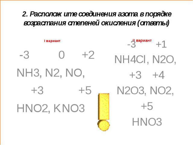 2. Расположите соединения азота в порядке возрастания степеней окисления (ответы)I вариант -3 0 +2 NH3, N2, NO, +3 +5HNO2, KNO3 -3 +1NH4Cl, N2O, +3 +4N2O3, NO2, +5HNO3