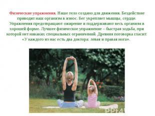Физические упражнения. Наше тело создано для движения. Бездействие приводит наш