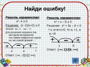 Найди ошибку! Решить неравенство: х² -4 ≥ 0Решение: (х -2)(х+2) ≥ 0Значит х1= 2