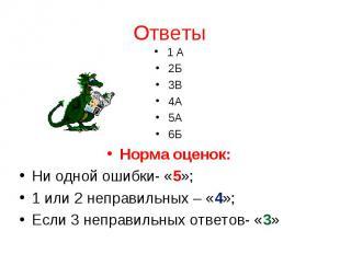 1 А2Б3В4А5А6БНорма оценок:Ни одной ошибки- «5»;1 или 2 неправильных – «4»;Если 3
