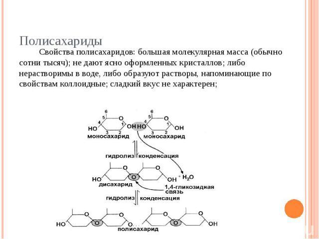 Свойства полисахаридов: большая молекулярная масса (обычно сотни тысяч); не дают ясно оформленных кристаллов; либо нерастворимы в воде, либо образуют растворы, напоминающие по свойствам коллоидные; сладкий вкус не характерен;
