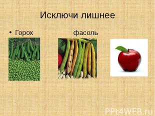 Исключи лишнееГорох фасоль яблоко