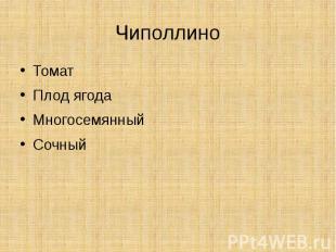 ЧиполлиноТоматПлод ягодаМногосемянныйСочный