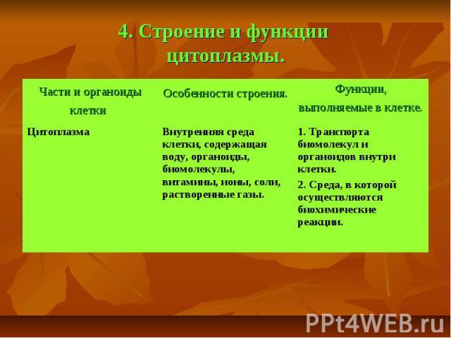 4. Строение и функции цитоплазмы.