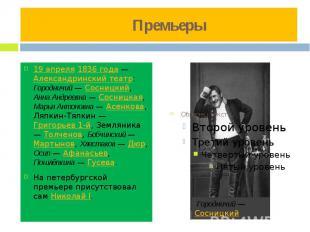 Премьеры 19 апреля 1836 года — Александринский театр: Городничий — Сосницкий, Ан
