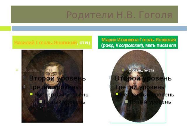 Родители Н.В. Гоголя Василий Гоголь-Яновский, отец Мария Ивановна Гоголь-Яновская (рожд. Косяровская), мать писателя