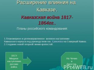 Расширение влияния на Кавказе.Кавказская война 1817-1864гг.. Планы российского к