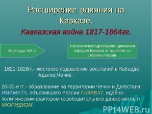 Расширение влияния наКавказе.Кавказская война 1817-1864гг. 1821-1826гг.- жестоко