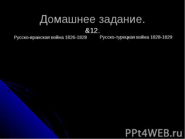 Домашнее задание.&12. Русско-турецкая война 1828-1829
