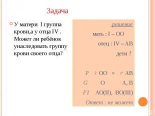 Задача У матери I группа крови,а у отца IV . Может ли ребёнок унаследовать групп