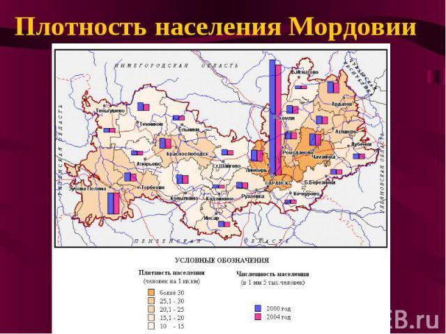 Плотность населения Мордовии