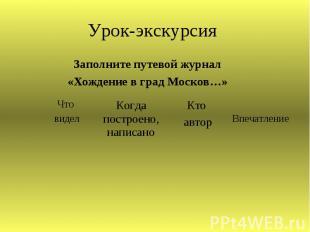 Урок-экскурсия Заполните путевой журнал«Хождение в град Москов…»