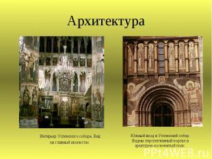 Архитектура Интерьер Успенского собора. Вид на главный иконостас Южный вход в Ус