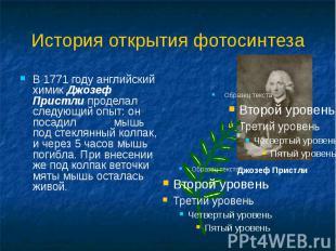 История открытия фотосинтеза В 1771 году английский химик Джозеф Пристли продела