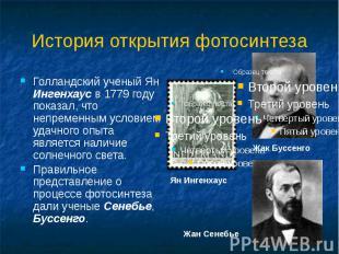 История открытия фотосинтеза Голландский ученый Ян Ингенхаус в 1779 году показал