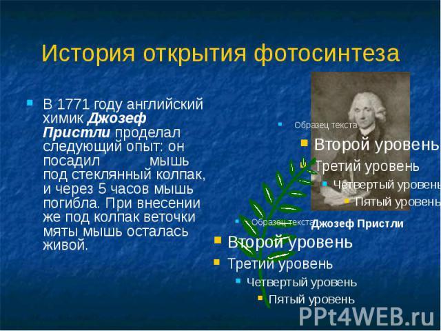 История открытия фотосинтеза В 1771 году английский химик Джозеф Пристли проделал следующий опыт: он посадил мышь под стеклянный колпак, и через 5 часов мышь погибла. При внесении же под колпак веточки мяты мышь осталась живой. Джозеф Пристли