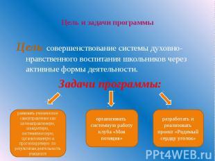 Цель и задачи программы Цель: совершенствование системы духовно-нравственного в