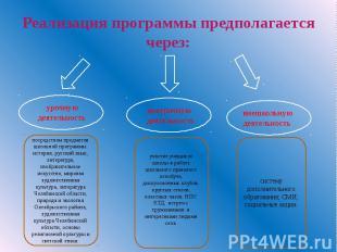 Реализация программы предполагается через: урочную деятельность посредством пред