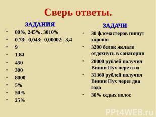 Сверь ответы. ЗАДАНИЯ80%, 245%, 3010%0,78; 0,043; 0,00002; 3,491,8445030080005%5
