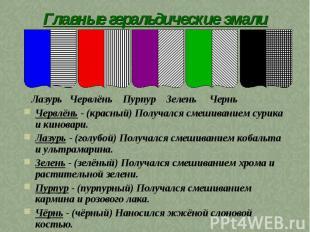 Главные геральдические эмали Лазурь Червлёнь Пурпур Зелень Чернь Червлёнь - (кра
