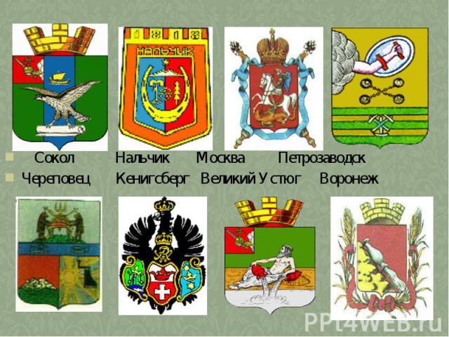 Сокол Нальчик Москва ПетрозаводскЧереповец Кенигсберг Великий Устюг Воронеж