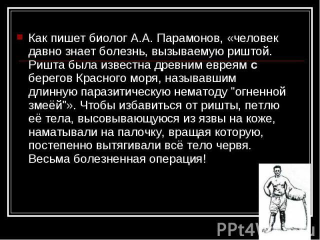 Как пишет биолог А.А. Парамонов, «человек давно знает болезнь, вызываемую риштой. Ришта была известна древним евреям с берегов Красного моря, называвшим длинную паразитическую нематоду