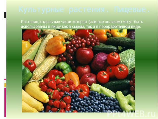 Культурные растения. Пищевые. Растения, отдельные части которых (или все целиком) могут быть использованы в пищу как в сыром, так и в переработанном виде.