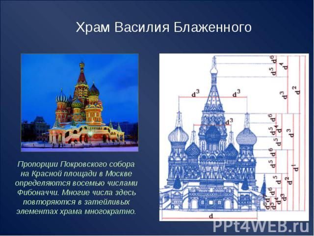 Храм Василия Блаженного Пропорции Покровского собора на Красной площади в Москве определяются восемью числами Фибоначчи. Многие числа здесь повторяются в затейливых элементах храма многократно.