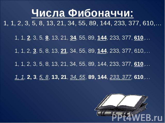 Числа Фибоначчи:1, 1, 2, 3, 5, 8, 13, 21, 34, 55, 89, 144, 233, 377, 610,…1, 1, 2, 3, 5, 8, 13, 21, 34, 55, 89, 144, 233, 377, 610,…1, 1, 2, 3, 5, 8, 13, 21, 34, 55, 89, 144, 233, 377, 610,…1, 1, 2, 3, 5, 8, 13, 21, 34, 55, 89, 144, 233, 377, 610,…1…