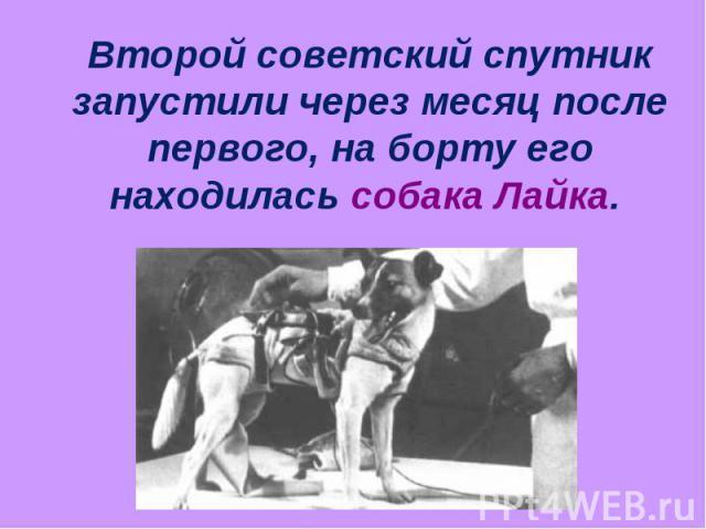 Второй советский спутник запустили через месяц после первого, на борту его находилась собака Лайка.