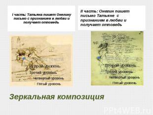 I часть: Татьяна пишет Онегину письмо с признанием в любви и получает отповедь I