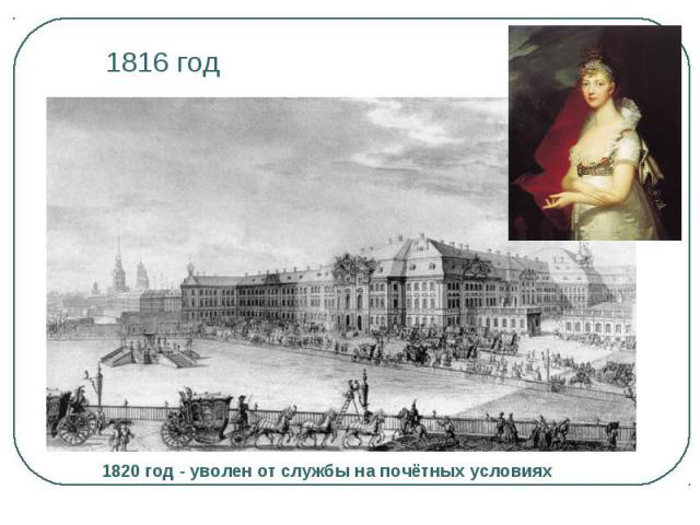 1816 год 1820 год - уволен от службы на почётных условиях
