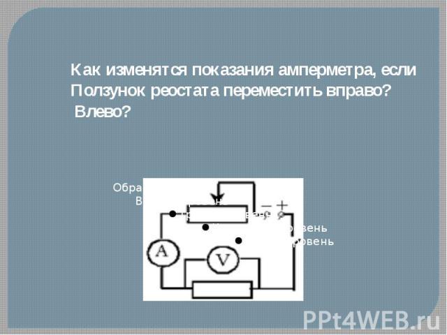 Как изменятся показания амперметра, еслиПолзунок реостата переместить вправо? Влево?