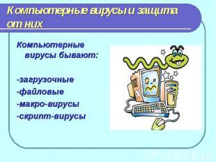 Компьютерные вирусы и защита от нихКомпьютерные вирусы бывают:-загрузочные-файло