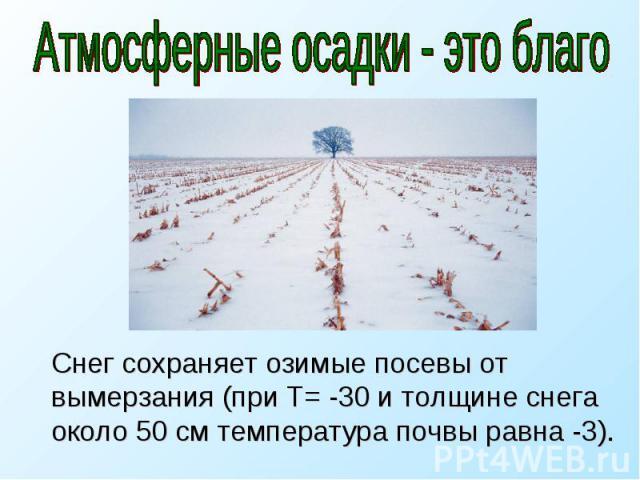 Атмосферные осадки - это благо Снег сохраняет озимые посевы от вымерзания (при Т= -30 и толщине снега около 50 см температура почвы равна -3).