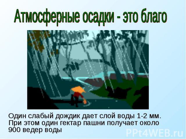 Атмосферные осадки - это благо Один слабый дождик дает слой воды 1-2 мм. При этом один гектар пашни получает около 900 ведер воды