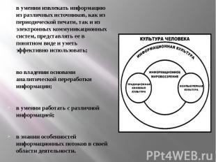 в умении извлекать информацию из различных источников, как из периодической печа