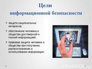 Цели информационной безопасности защита национальных интересов;обеспечение челов