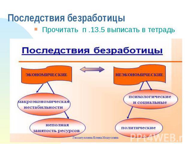 Последствия безработицы Прочитать п .13.5 выписать в тетрадь