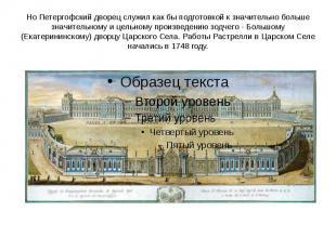 Но Петергофский дворец служил как бы подготовкой к значительно больше значительн