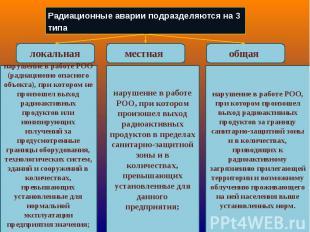 Радиационные аварии подразделяются на 3 типа нарушение в работе РОО (радиационно