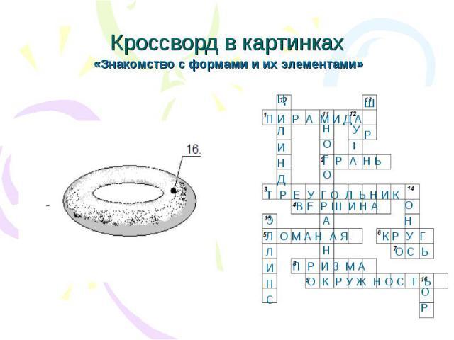 Кроссворд в картинках «Знакомство с формами и их элементами»